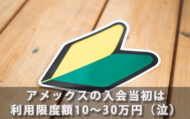 アメックスの入会当初は利用限度額10〜30万円(泣)